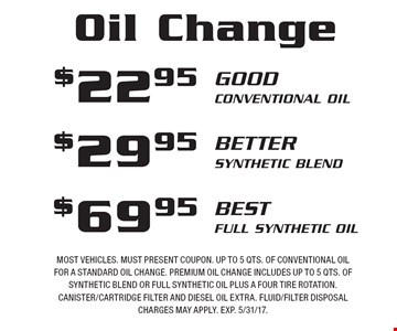$69.95 best Full Synthetic Oil OR $29.95 better Synthetic Blend OR $22.95 Good Conventional Oil. Most vehicles. Must present coupon. Up to 5 qts. of conventional oil for a standard oil change. Premium oil change includes up to 5 qts. of synthetic blend or full synthetic oil plus a four tire rotation. Canister/cartridge filter and diesel oil extra. Fluid/filter disposal charges may apply. EXP. 5/31/17.