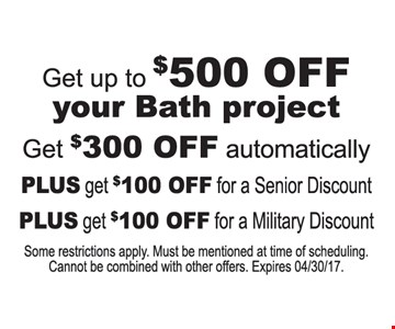 Get up to $500 off your bath project