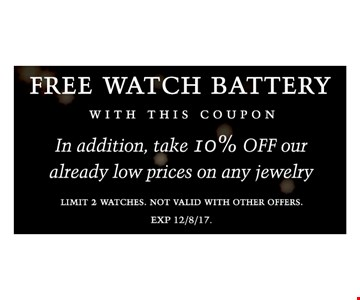 Free watch battery with this coupon