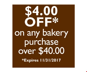 $4 off on any bakery purchase of $40 or more