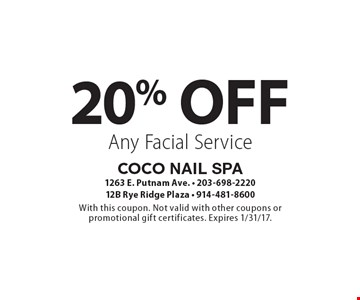 20% Off Any Facial Service. With this coupon. Not valid with other coupons or promotional gift certificates. Expires 1/31/17.
