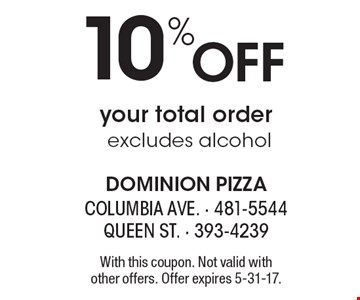 10% Off your total order excludes alcohol. With this coupon. Not valid with other offers. Offer expires 5-31-17.