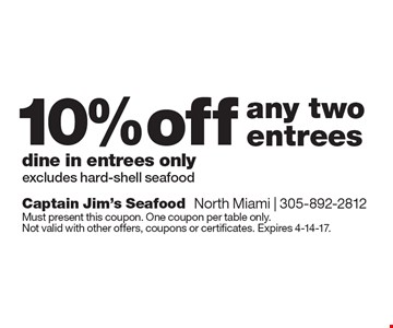 10% off any two entrees, dine in entrees only. Excludes hard-shell seafood. Must present this coupon. One coupon per table only. Not valid with other offers, coupons or certificates. Expires 4-14-17.