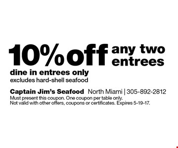 10% off any two entrees, dine in entrees only. Excludes hard-shell seafood. Must present this coupon. One coupon per table only. Not valid with other offers, coupons or certificates. Expires 5-19-17.