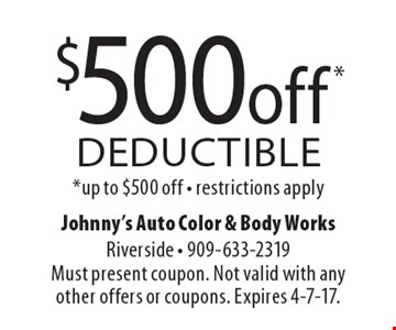 $500 off deductible. Up to $500 off. Restrictions apply. Must present coupon. Not valid with any other offers or coupons. Expires 4-7-17.