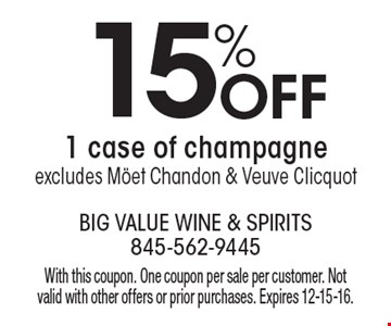 15% off 1 case of champagne, excludes Mˆet Chandon & Veuve Clicquot. With this coupon. One coupon per sale per customer. Not valid with other offers or prior purchases. Expires 12-15-16.