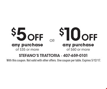 $5 Off any purchase of $35 or more  or $10 Off any purchase of $60 or more. With this coupon. Not valid with other offers. One coupon per table. Expires 5/12/17.