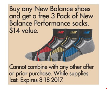 Buy any New Balance shoes and get a Free 3 pack of New Balance Performance Socks.