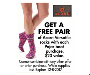 GET A FREE PAIR of Acorn Versatile socks with each Pajar boot purchase.