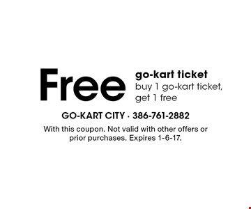 Free go-kart ticket. Buy 1 go-kart ticket, get 1 free. With this coupon. Not valid with other offers or prior purchases. Expires 1-6-17.