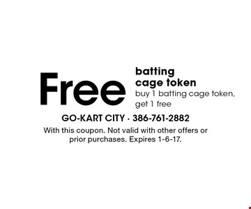 Free batting cage token. Buy 1 batting cage token, get 1 free. With this coupon. Not valid with other offers or prior purchases. Expires 1-6-17.