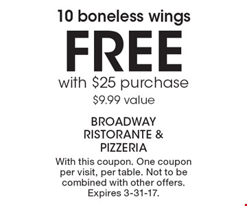 Free 10 boneless wings with $25 purchase $9.99 value. With this coupon. One coupon per visit, per table. Not to be combined with other offers. Expires 3-31-17.