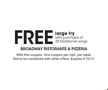 Free large fry with purchase of20 traditional wings. With this coupon. One coupon per visit, per table. Not to be combined with other offers. Expires 5-12-17.