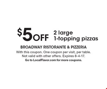 $5 Off 2 large 1-topping pizzas. With this coupon. One coupon per visit, per table. Not valid with other offers. Expires 8-4-17. Go to LocalFlavor.com for more coupons.