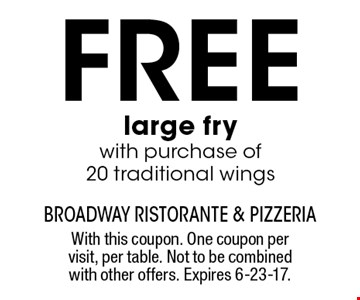 Free large fry with purchase of 20 traditional wings. With this coupon. One coupon per visit, per table. Not to be combined with other offers. Expires 6-23-17.
