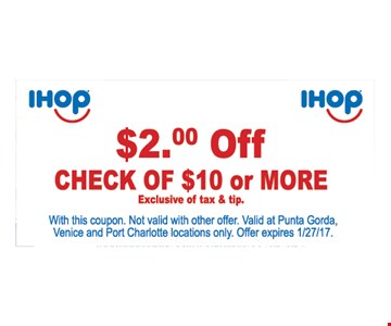 $2 off check of $10 or more