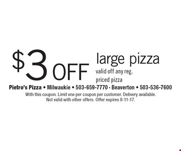 $3 off large pizza valid off any reg. priced pizza. With this coupon. Limit one per coupon per customer. Delivery available. Not valid with other offers. Offer expires 8-11-17.
