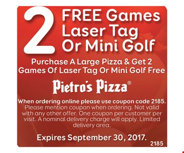 2 free games of laser tag or mini golf with purchase