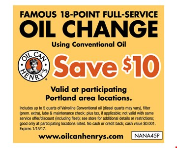 Famous 18 - point full-service oil change - Save $10 valid at participating Portland area locations
