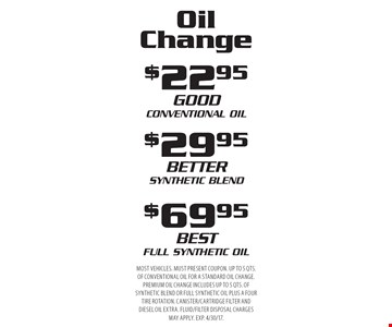 Oil Change - $22.95 Conventional Oil, $29.95 Synthetic Blend or $69.95 Full Synthetic Oil. Most vehicles. Must present coupon. Up to 5 qts. of conventional oil for a standard oil change. Premium oil change includes up to 5 qts. of synthetic blend or full synthetic oil plus a four tire rotation. Canister/cartridge filter and diesel oil extra. Fluid/filter disposal charges may apply. Exp. 4/30/17.