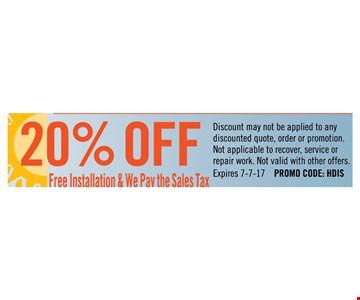 20% off free installation
