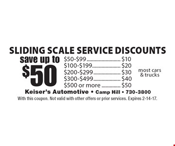 Save up to $50! Sliding scale service discounts $50-$99 $10, $100-$199 $20, $200-$299 30, $300-$499 $40, $500 or more $50. Most cars & trucks. With this coupon. Not valid with other offers or prior services. Expires 2-14-17.