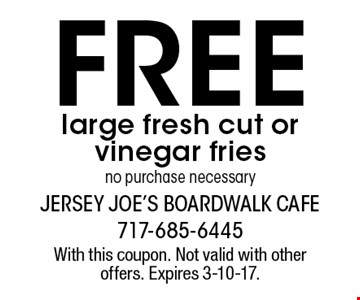 Free large fresh cut or vinegar fries no purchase necessary. With this coupon. Not valid with other offers. Expires 3-10-17.