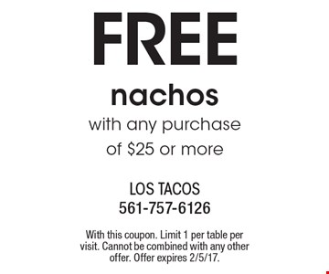 FREE nachos with any purchase of $25 or more. With this coupon. Limit 1 per table per visit. Cannot be combined with any other offer. Offer expires 2/5/17.