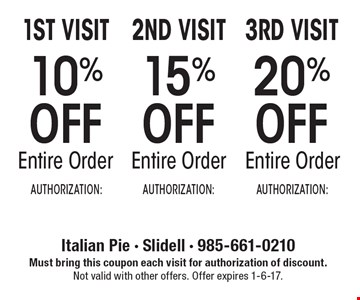 10% off entire order (1st visit) OR 15% entire order (2nd order) OR 20% off entire order (3rd visit). Must bring this coupon each visit for authorization of discount. Not valid with other offers. Offer expires 1-6-17.