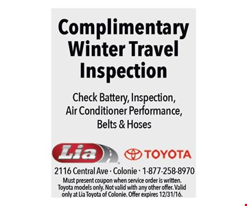 Complimentary Winter Travel Inspection