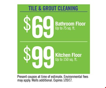 Tile and grout cleaning $69 and $99