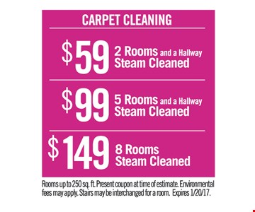 Carpet cleaning $59, $99 and $149