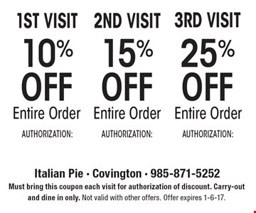 1ST VISIT 10% OFF Entire Order. 2ND VISIT 15% OFF Entire Order. 3RD VISIT 25% OFF Entire Order. Must bring this coupon each visit for authorization of discount. Carry-out and dine in only. Not valid with other offers. Offer expires 1-6-17.