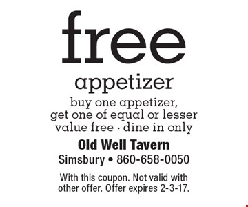 Free appetizer – buy one appetizer, get one of equal or lesser value free. Dine in only. With this coupon. Not valid with other offer. Offer expires 2-3-17.