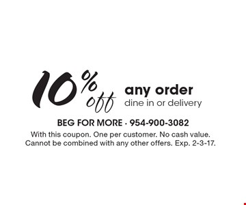 10% off any order, dine in or delivery. With this coupon. One per customer. no cash value. Cannot be combined with any other offers. Exp. 2-3-17.