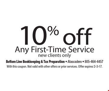 10% off Any First-Time Service new clients only. With this coupon. Not valid with other offers or prior services. Offer expires 2-3-17.