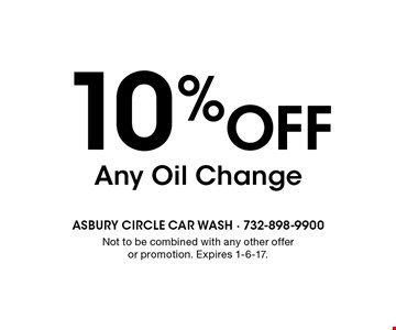 10% Off Any Oil Change. Not to be combined with any other offer or promotion. Expires 1-6-17.