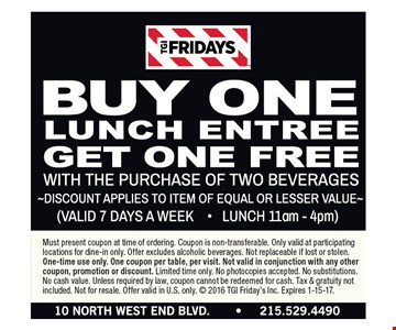 Buy one lunch get one free. Expires 1-15-17.