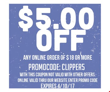 $5 off any online order of $18 or more