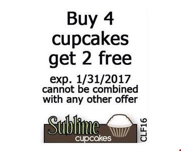 Buy 4 cupcakes get 2 free