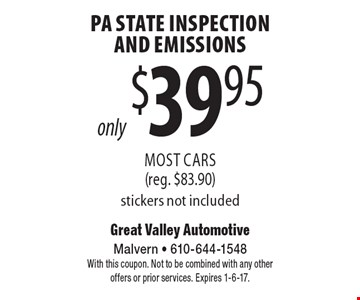 PA State Inspection And Emissions only $39.95. Most Cars (reg. $83.90). Stickers not included. With this coupon. Not to be combined with any other offers or prior services. Expires 1-6-17.