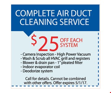 Complete air duct cleaning service - $25 Off each system camera inspection, High power vacuum' wash & Scrub, all HVAC grill and registers, blower & drain pan, 1