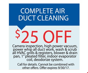 $25 off air duct cleaning.