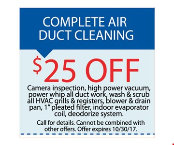 complete air duct cleaning service - $25 Off each system