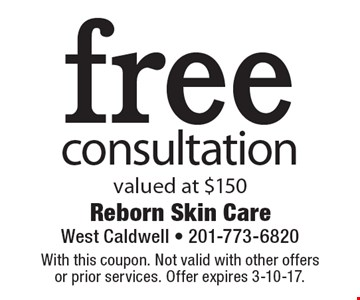 free consultation valued at $150. With this coupon. Not valid with other offers or prior services. Offer expires 3-10-17.