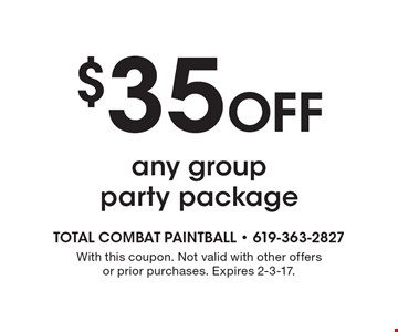 $35 off any group party package. With this coupon. Not valid with other offers or prior purchases. Expires 2-3-17.