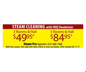 Steam Cleaning for as low as $49.95.