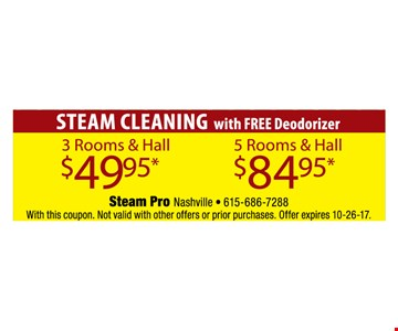 Steam Cleaning for as low as $49.95