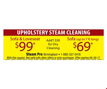 Upholstery cleaning for as low as $69