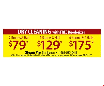Dry cleaning with free deodorizer $79, $129, $175